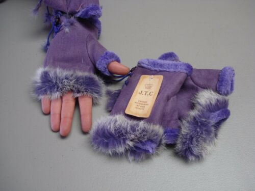 NWT Women/'s J.T.C Wool Leather Fingerless Fashion Gloves One Size Purple #183G