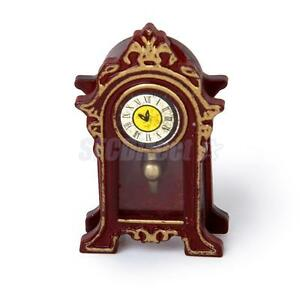 Image Is Loading Miniature Dollhouse Furniture Wooden Table Mantle Clock 1