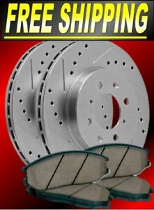 Front /& Rear Drill Slot Brake Rotors and Ceramic Pads For 08-15 Impreza WRX Sti
