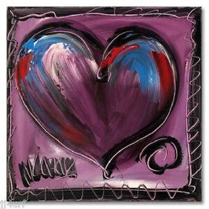 Mark-Kazav-034-Purple-Heart-034-ORIGINAL-Acrylic-Painting-on-Canvas-Signed-with-COA