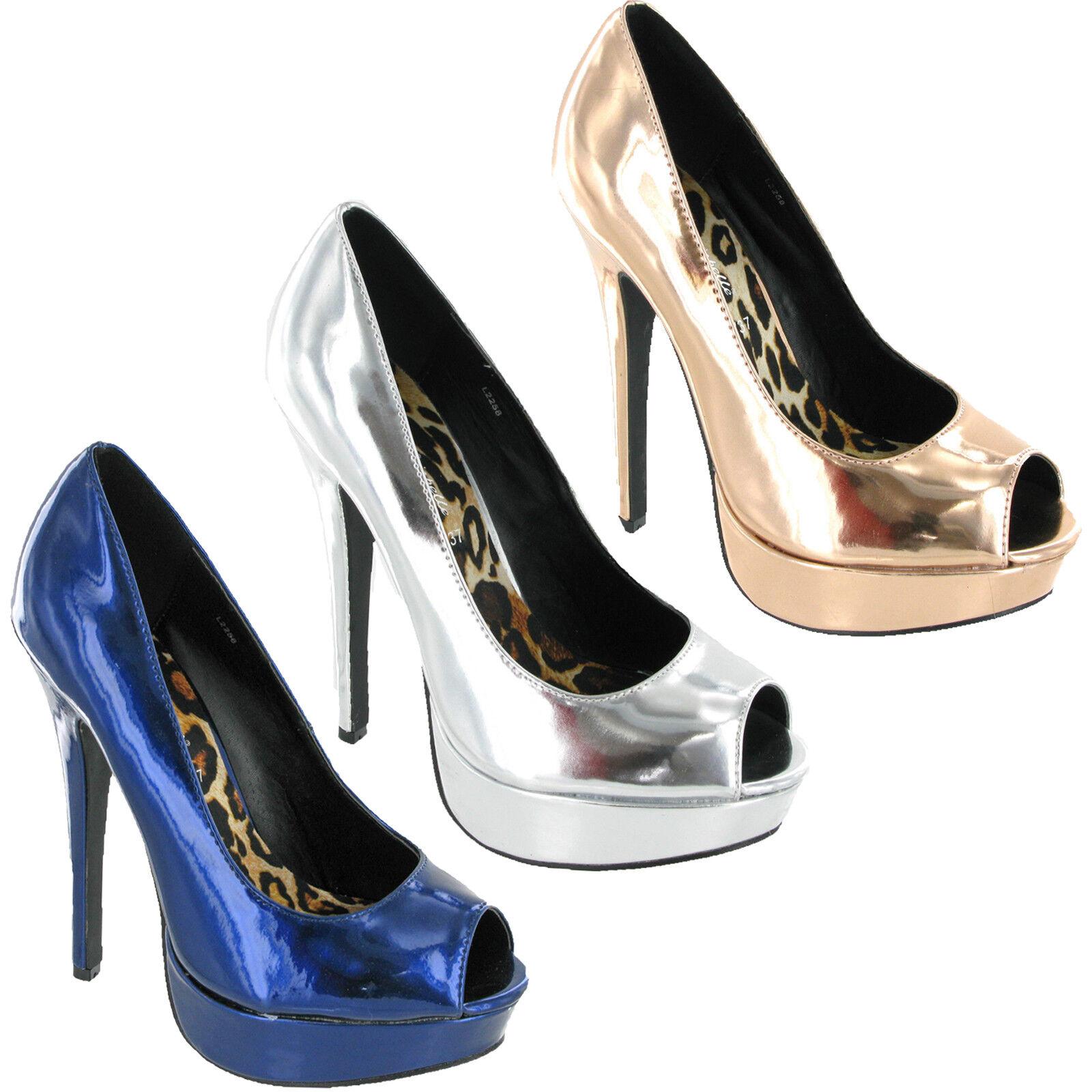 Mujer Tacón Alto Fiesta Peep-Toe Plataforma de Salón Fiesta Alto Zapatos de Mujer 666fe3
