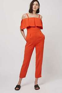 * Topshop * Froid Épaule Rouge Bardot Combinaison Blogueurs Party Uk8 Eu36 Us4 Bnwt Pure Blancheur