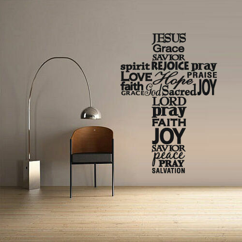 Wall Decal Vinyl Sticker Cross Jesus Christ God Psalm Prayer Sign Z2643
