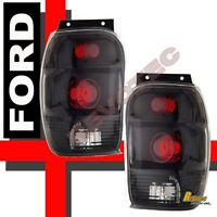 98-01 Ford Explorer Mercury Mountaineer Black Tail Lights Lamps 1 Pair
