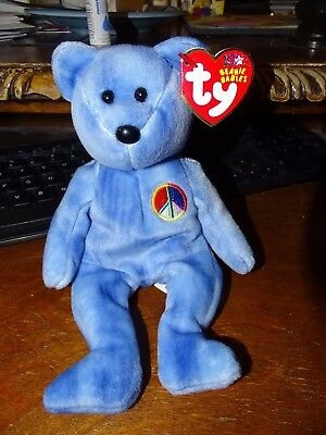 PEACE 2003 the Bear 8.5 inch TY Beanie Baby Blue Version - MWMTs