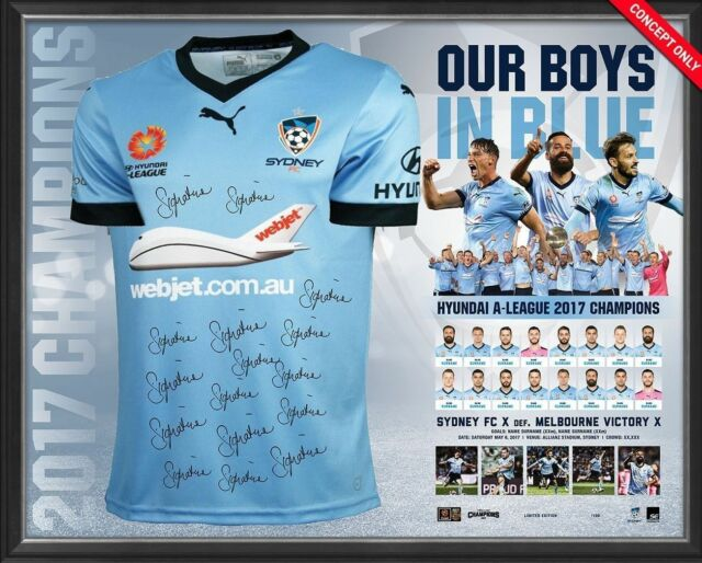 SYDNEY FC 2017 A-LEAGUE CHAMPIONS TEAM SIGNED FRAMED LIMITED EDITION JERSEY