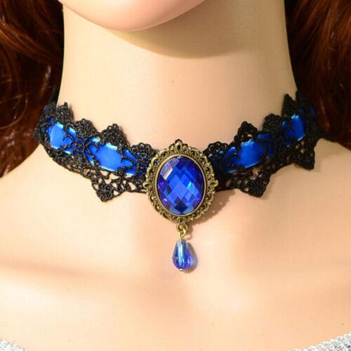 Anhänger Cosplm GXJ Spitze Edelstein Gothic viktorianischen Kragen-Halsketten
