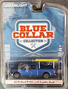 GreenLight-2017-blue-collar-serie-3-2015-ford-f150-with-Ladder-rack-azul