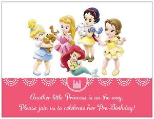 20-Princess-Cinderella-BABY-Girl-SHOWER-Postcards-Flat-Cards-Env-Invitations