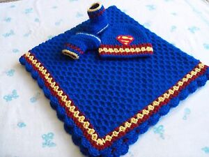 Knit/Crochet Personalized Baby Superman Blanket, Hat and Booties (33x33)