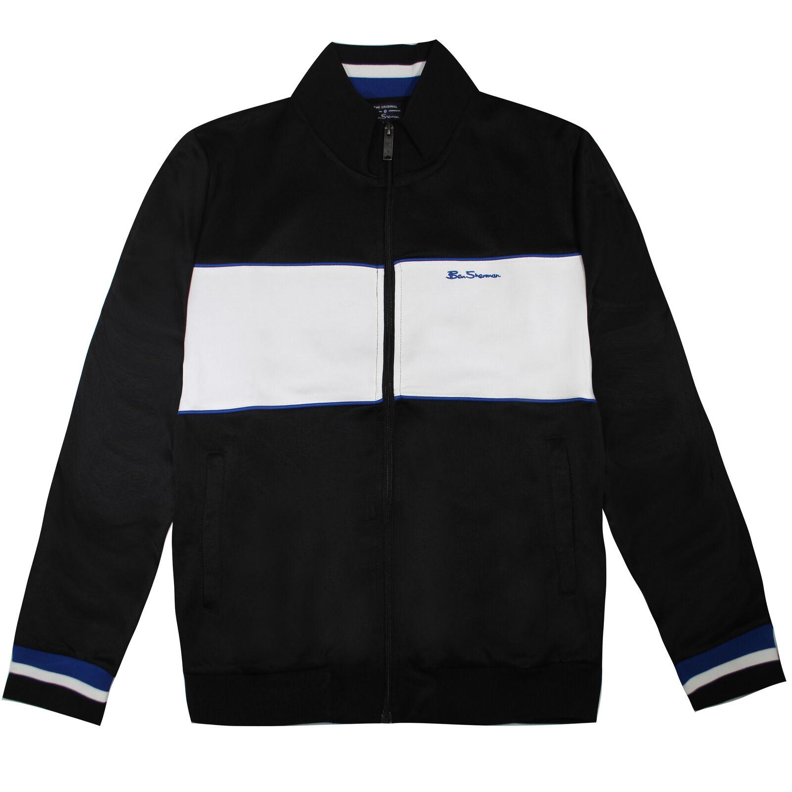 Ben Sherman Striped Panelled Mens Full Zip Track Top Jacket 0065218 Black