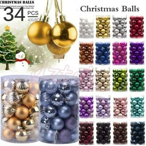 34PC-40mm-Christmas-Tree-Balls-Bauble-Hanging-Home-Party-Ornament-Decor-Xmas-BE