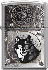 Wolf Dreams Canis Lycaon Brushed Chrome Zippo Lighter