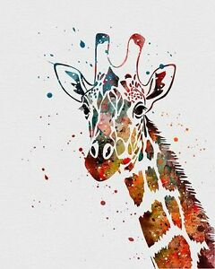 Image Is Loading Beautiful Giraffe Watercolour Painting Canvas Home Wall Art