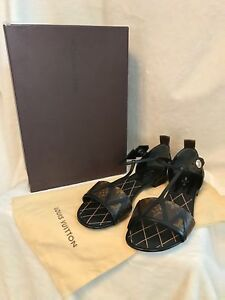 de30522bc3f NIB Louis Vuitton Monogram NEW REVIVAL FLAT Sandals Shoes EURO 39 US ...