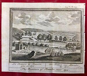 La-Fontaine-du-Tonnelet-Spa-en-1784-Belgique-Rare-Gravure-Ancienne
