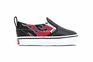 Vans Slip On V (Moto Flame) Black Toddlers Slip on Sneakers Size 4