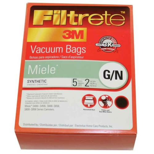 3M Filtrete 68705 for Miele G//N Vacuum Bags 5 Bags and 2 Filters