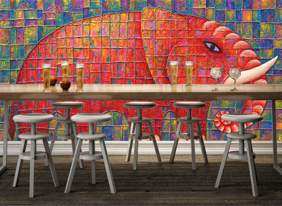 3D Lattice Elephant 74 Wall Paper Murals Wall Print Wall Wallpaper Mural AU Kyra
