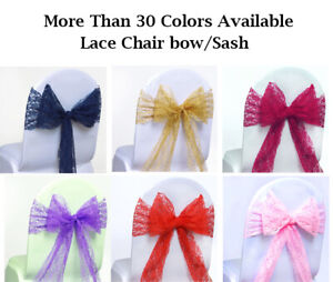 25 Lace Chair Sashes Cover Bow For Wedding Party Decoration 40 Color Free Ship Ebay