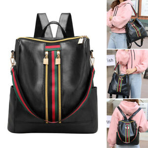 26ec757f0c1f Image is loading UK-PU-Leather-Fashion-Women-Backpack-Travel-School-
