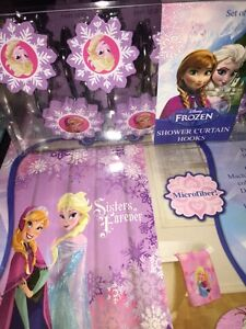 "Disney Frozen Shower Curtain With Hooks Kids 70"" X 72"" 178 Cm X 183 Cm New"
