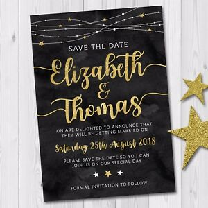 Day-or-Evening-Wedding-Save-the-Date-Cards-amp-Envelopes-Black-Gold-Winter-Stars