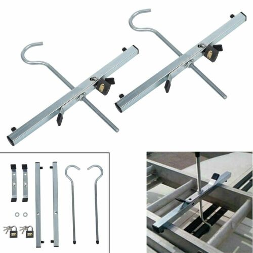2 LOCKS UNIVERSAL LADDER CLAMP ROOF RACK SECURE LOCKABLE CLAMPS PAIR LADDERS