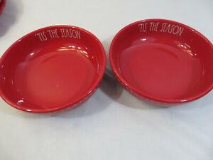 Rae-Dunn-Set-Of-4-TIS-THE-SEASON-Pasta-Bowls-Christmas-Red-Ceramic-LL-Farmhouse