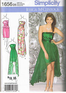Strapless Draped Bodice Party Prom Dress Gown Sewing Pattern Size ...
