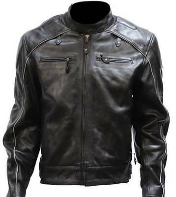 Mens New Style Racer Top Grade Leather Motorcycle Jacket  Reflective Strips 814
