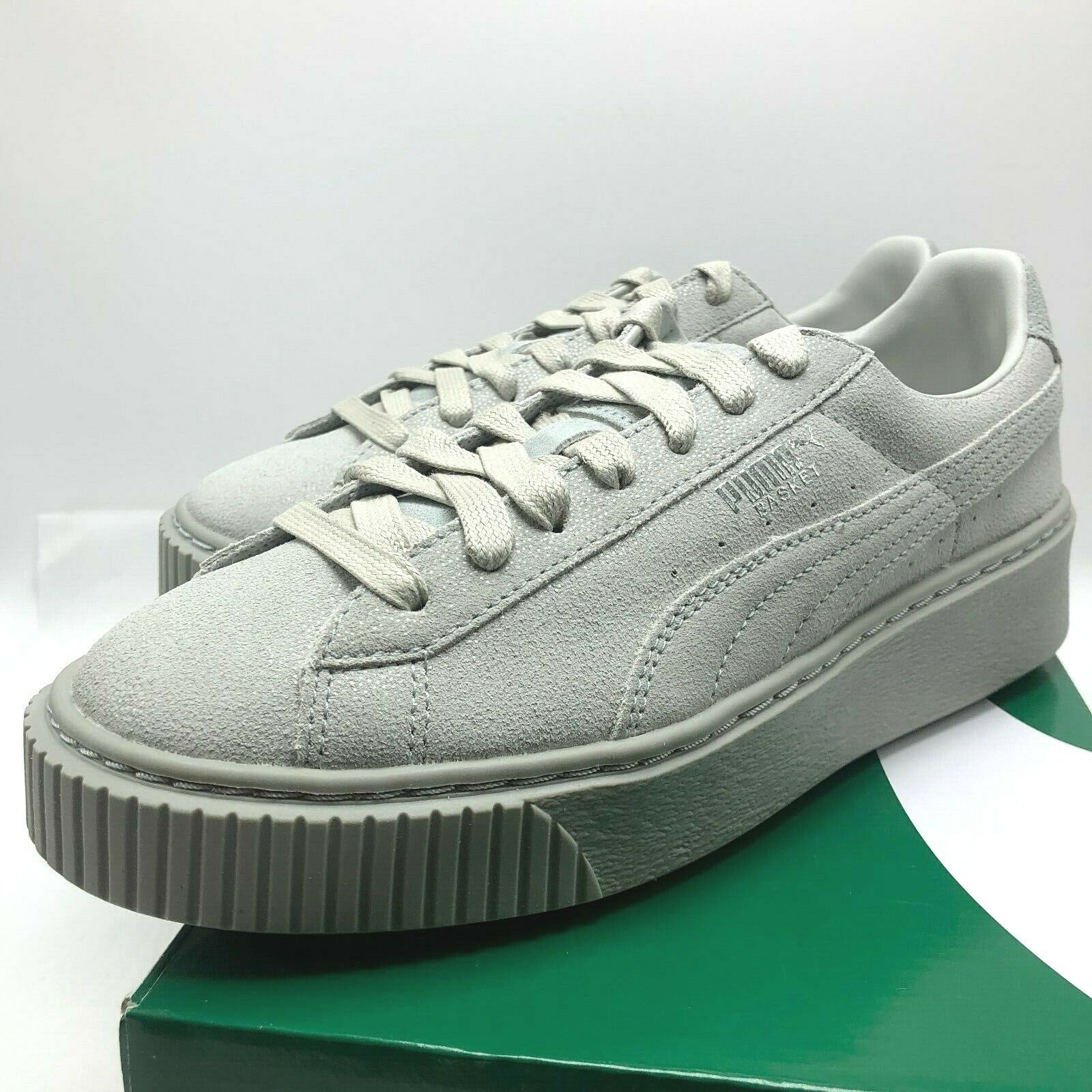 brand new 07949 a748a WOMENS PUMA BASKET PLATFORM GREY VIOLET (363313 01), Sz 7-10,100%  AUTHENTIC!!