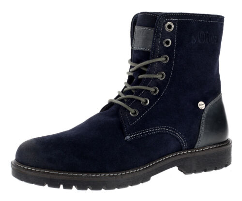 s.Oliver Herren Stiefel Boots Schnürboots Männer Schuhe Schnürschuhe Blau Neu