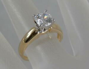 Estate-14-Karat-Or-jaune-1-CT-Zirconium-Cubique-Zircone-Cubique-Solitaire-Ring-SZ-6-14K-F0818