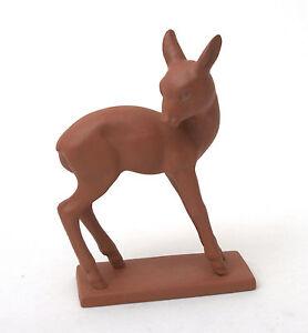 Hertwig-amp-Co-Katzhutte-Art-Deco-Terracotta-Standing-Deer-1914-1945
