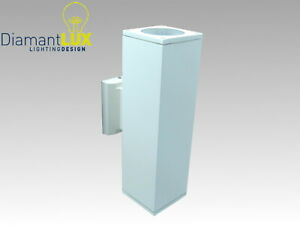 Applique esterno bianco doppia luce moderno quadrato luci e