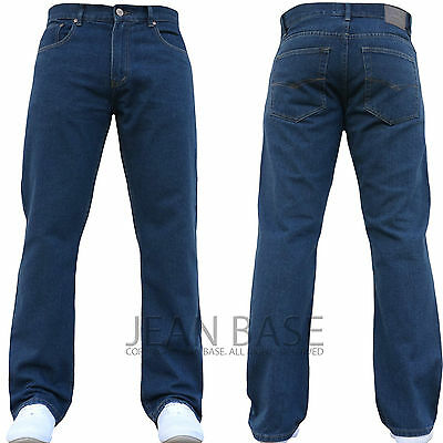 NEW MENS STRAIGHT LEG REGULAR FIT PLAIN BLUE DENIM JEANS ALL WAIST & SIZES MARS