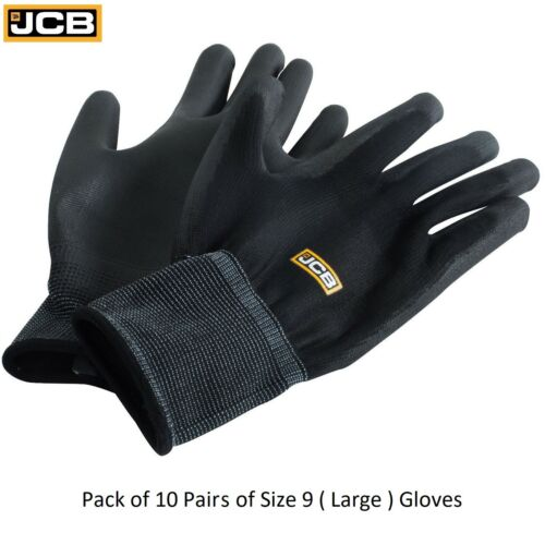 10 x Pairs JCB Heavy Duty Black PU Coated Polyester Work Gloves Grip Mechanics