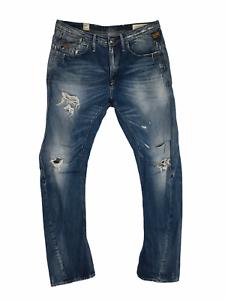 G-Star 3301 Jeans w32 34 Blau Denim Jeans Herren l32 Tapered Distressed Raw Gstar