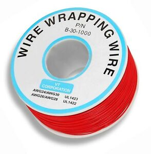 KYNAR-SINGLE-CORE-RED-WRAPPING-WIRE-1000-FEET-SOLDERING-UK-Seller