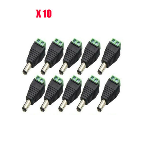 20X DC 5.5X2.1mm Male Power Connector Adapter Plug Welding-Free for CCTV Camera