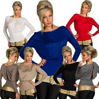 Long sleeve Shirt Top Long Sleeve with Slit One Size Fits All S 34 36 Party Club
