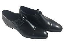 Stefano Ricci Cap-Toe Oxford with Crocodile Trim, Black - Mens Shoes - US Size 9