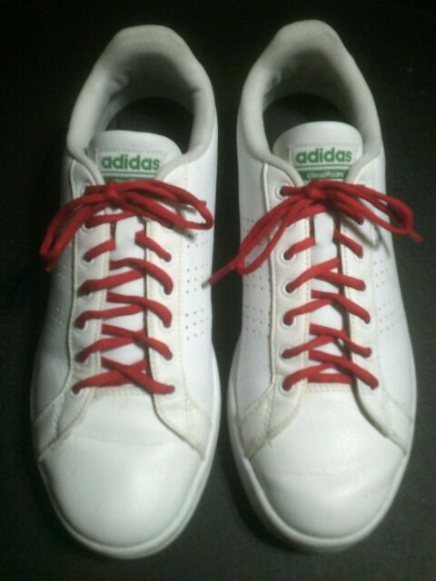 Men's 8.5 Adidas AW3914 Neo Cloudfoam Advantage White Grn Leather Shoes Sneakers