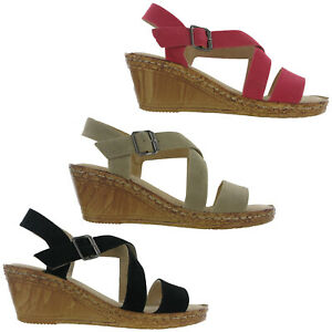 Cushion-Walk-Wedge-Sandals-Leather-Lined-Padded-Cushioned-Comfort-Womens-UK-3-8