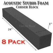 """8 Pack Acoustic Studio Soundproofing Foam Corner Block 3""""x 3""""x 24"""""""