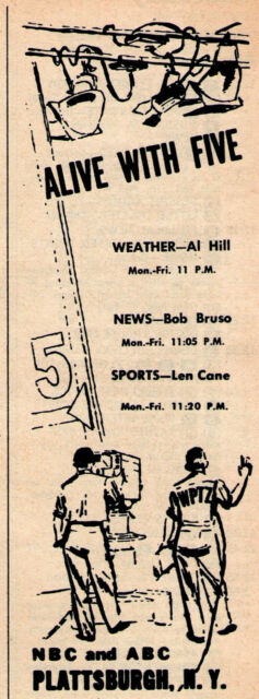 Details about 1966 WPTZ Tv Ad ~ News w Al Hill/Bob Bruso/Len Cane in  PLATTSBURGH,NEW YORK