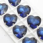 27x27mm Glass Heart 4827 Cobalt Blue Crystal Sew On Rhinestone Fancy Stones Gems