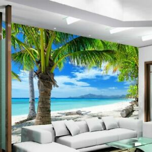 Details About 3d Beach Sea View Coconut Palm Tree Wall Mural Wallpaper Living Room Bedroom