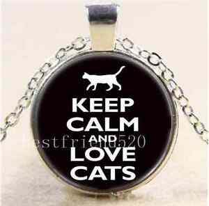 Keep-Calm-And-Love-Cat-Cabochon-Glass-Tibet-Silver-Chain-Pendant-Necklace